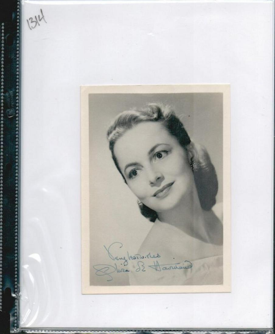 OLIVIA DE HAVILLAND SIGNED 5 X 7 PHOTOGRAPH. HERE IS AN