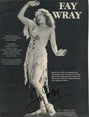 Fay Wray- Signed 8 x 10.75 photograph from King Kong