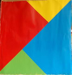 """JO DELAHAUT """"SIGNALS 25 """"OIL ON CANVAS SIGNED 1972"""