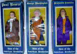 3 RARE HEROES OF THE AMERICAN REVOLUTION DOLLS