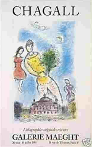 MARC CHAGALL MAEGHT GALLERY EXHIBITION POSTER