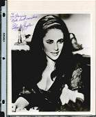 ELIZABETH TAYLOR SIGNED 8 X 10 PHOTOGRAPH. HERE IS A