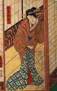 KUNISADA - JAPANESE WOODBLOCK PRINT (GEISHA)
