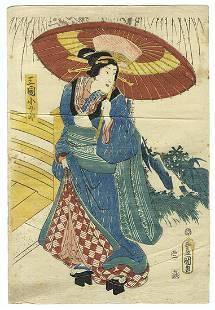 Original Meiji era Japanese Woodblock Print- Toyokuni