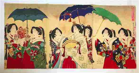 MEIJI ERA- JAPANESE WOODBLOCK PRINT (TRIPTYCH)