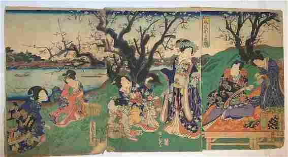 TOYOKUNI - JAPANESE WOODBLOCK PRINT (TRIPTYCH)