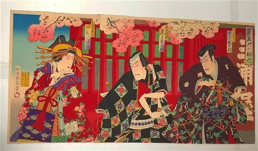 KUNICHIKA - JAPANESE WOODBLOCK PRINT (TRIPTYCH)