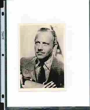 MELVYN DOUGLAS SIGNED 5 X 7 PHOTOGRAPH. HERE IS AN 5 X