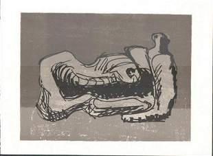 Henry Moore reclining figure vintageoriginal lithograph