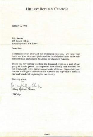 Hillary Clinton- TLS on her stationary from 1993 w/COA