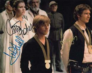 Mark Hamill, Carrie Fisher, & Harrison Ford - Signed 8