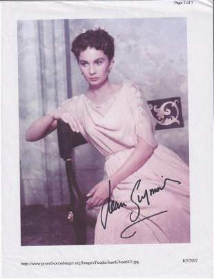 Jean Simmons - 8.5 x 11 Signed Photograph w/COA