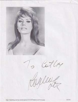 Sophia Loren - 8.5 x 11 Signed Photograph w/COA
