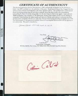 CORINAE CALVET SIGNED AUTOGRAPH ON A 5 X 3 CARD W/COA