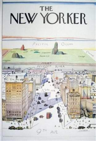 SAUL STEINBERG The New Yorker Poster, 42X29 vintage