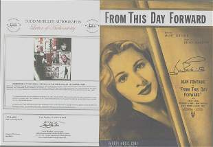 Joan Fontain - Signed 9 x 12 Vintage Music Sheet w/COA