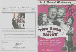 June Allyson - Signed 9 x 12 Vintage Music Sheet w/COA
