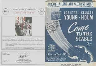 Celeste Holm - Signed 9 x 12 Vintage Music Sheet w/COA