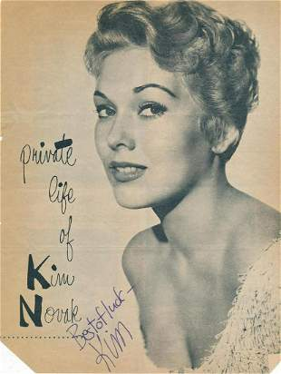 Kim Novak - 8.5 x 11 Signed Vintage Magazine Photograph