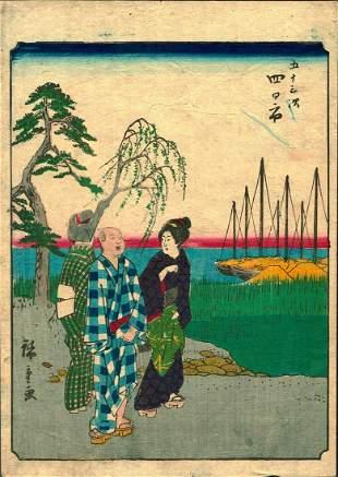 """Hiroshige - """"Two Women Conversing w/ a Man"""""""