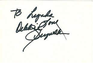 Debbie Reynolds- Signed index card w/ COA. Here is an