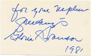 Gloria Swanson- Signed 3 x 5 index card from 1981 w/COA