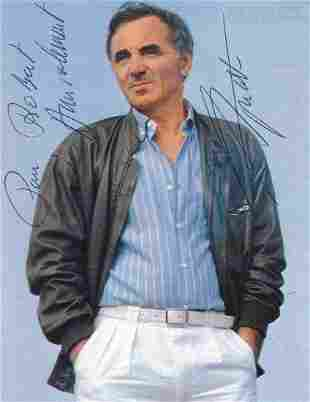 Charles Aznavour- 4 x 5.5 Signed picture postcard w/COA