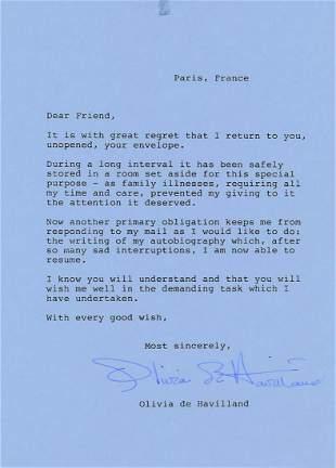 Olivia De Havilland - Signed Letter