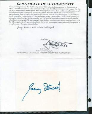 JIMMY STEWART SIGNED AUTOGRAPH ON A 6 X 4 CARD. THIS