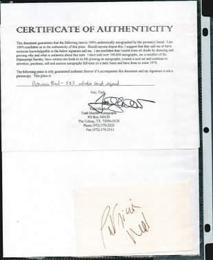 PATRICIA NEAL SIGNED AUTOGRAPH ON A 5 X 3 CARD W/COA