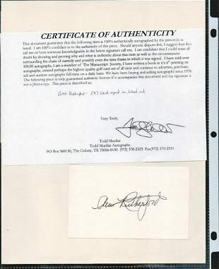 ANN RUTHERFORD SIGNED AUTOGRAPH ON A 5 X 3 CARD W/COA