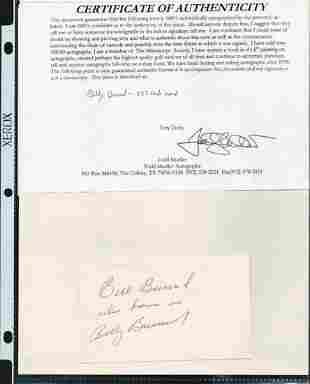 BILLY BURRUD SIGNED AUTOGRAPH ON A 5 X 3 CARD W/COA