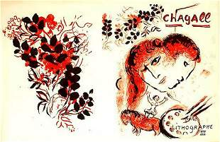 """MARC CHAGALL """"BOOK III"""" DOUBLE PAGE ORIGINAL LITHOGRAPH"""