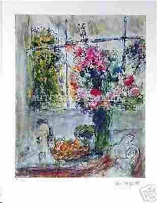 """MARC CHAGALL """"OLD WINDOWS/FLORAL STEEL LIGHT"""" LITHOGRAP"""