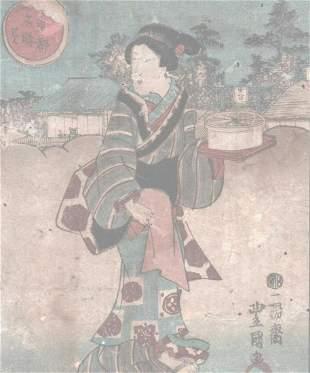 """KUNISADA """"WOMAN WITH GIFT"""""""