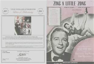 Jane Wyman - Signed 9 x 12 Vintage Music Sheet w/COA