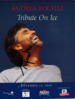 Andrea Bocelli- 8.5 x 11 Signed Photograph w/COA