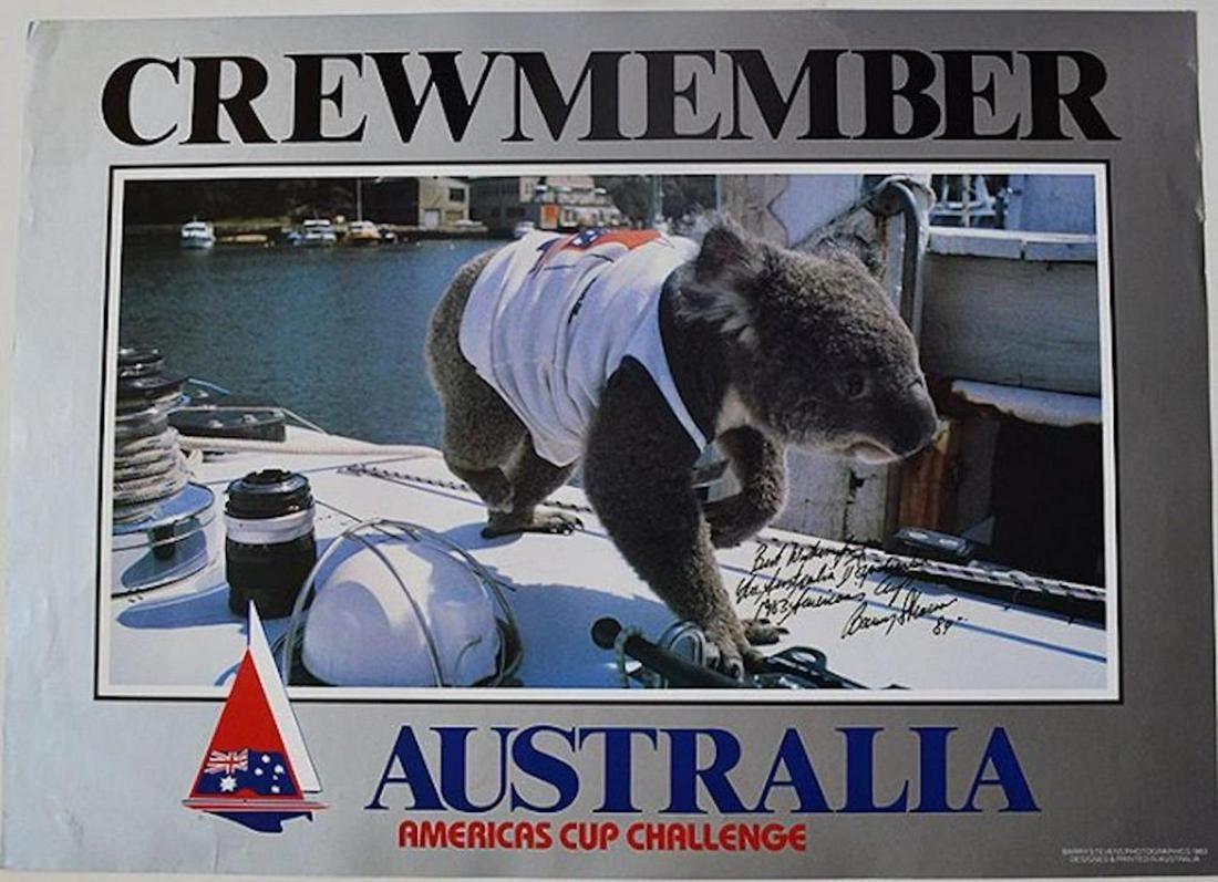 "AMERICAS CUP AUSTRALIA SIGNED ""CREW MEMBER"" POSTER rare"