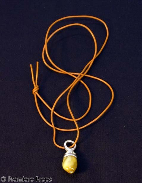 593: CHOCOLAT Amber Pendant Leather Necklace Prop