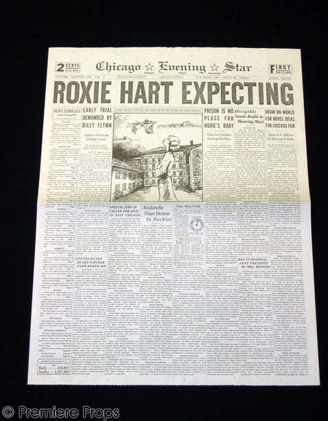 """599: CHICAGO """"Roxie Hart Expecting"""" Newspaper Prop"""
