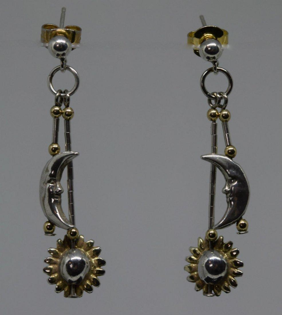 Sterling Silver Moon & Sun Two Tone Dangle Earrings