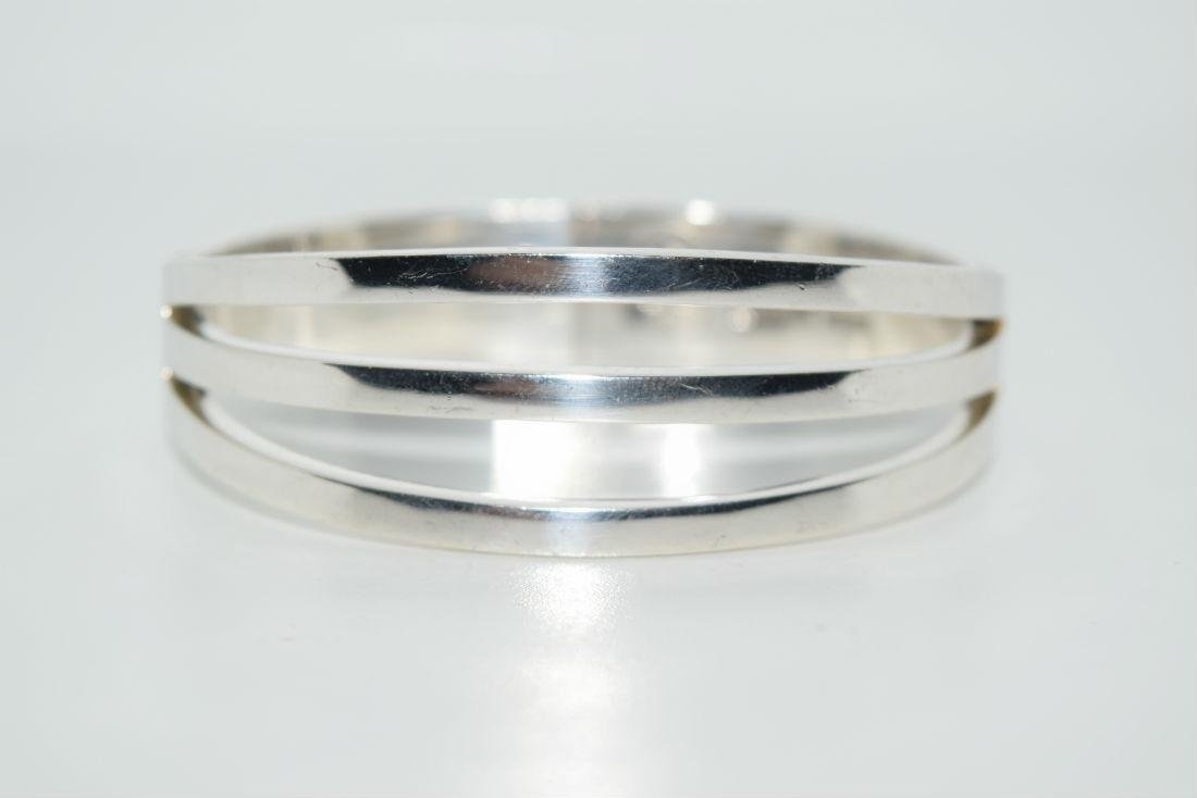 Vintage Heavy Taxco Sterling Silver Latch Bangle