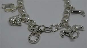 Sterling Silver Horse Lovers Charm Bracelet