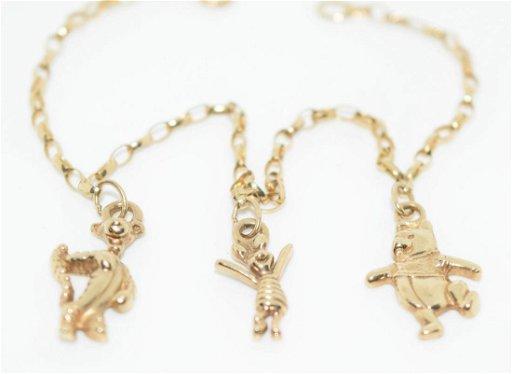 Vintage 9k Gold Winnie The Pooh Charm Bracelet