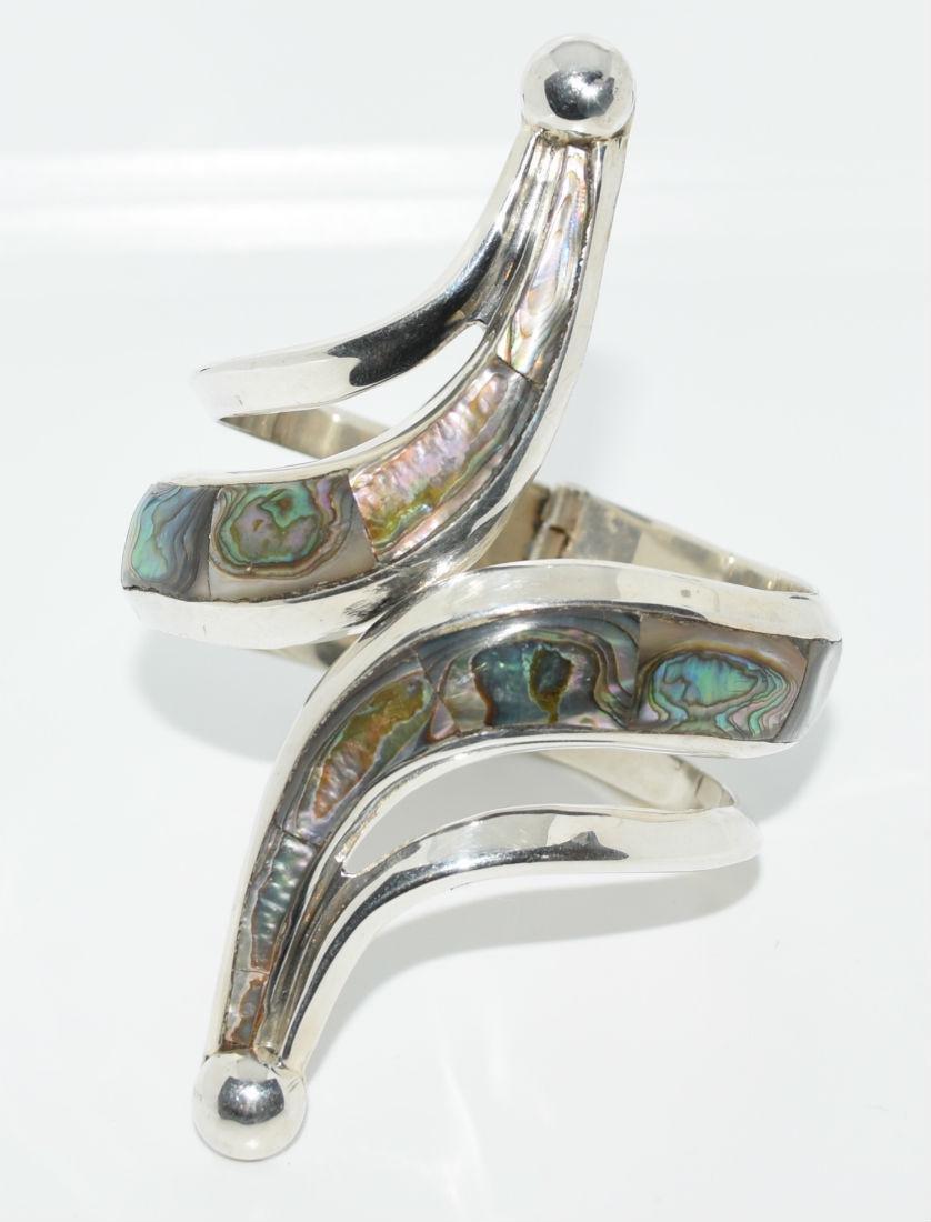 Taxco Mexico Sterling Silver Abolone Bracelet