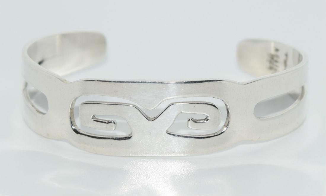 Taxco Mexico Sterling Silver Aztec Design Bracelet