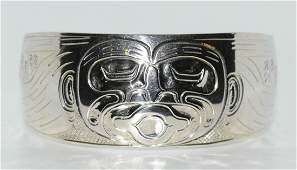 Signed JFT Native American Sterling Haida Cuff Bracelet