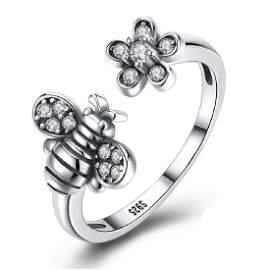Sterling Silver Bee & Flower Adjustable Ring