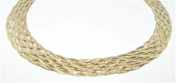 Gold Over Sterling Silver Braided Necklace