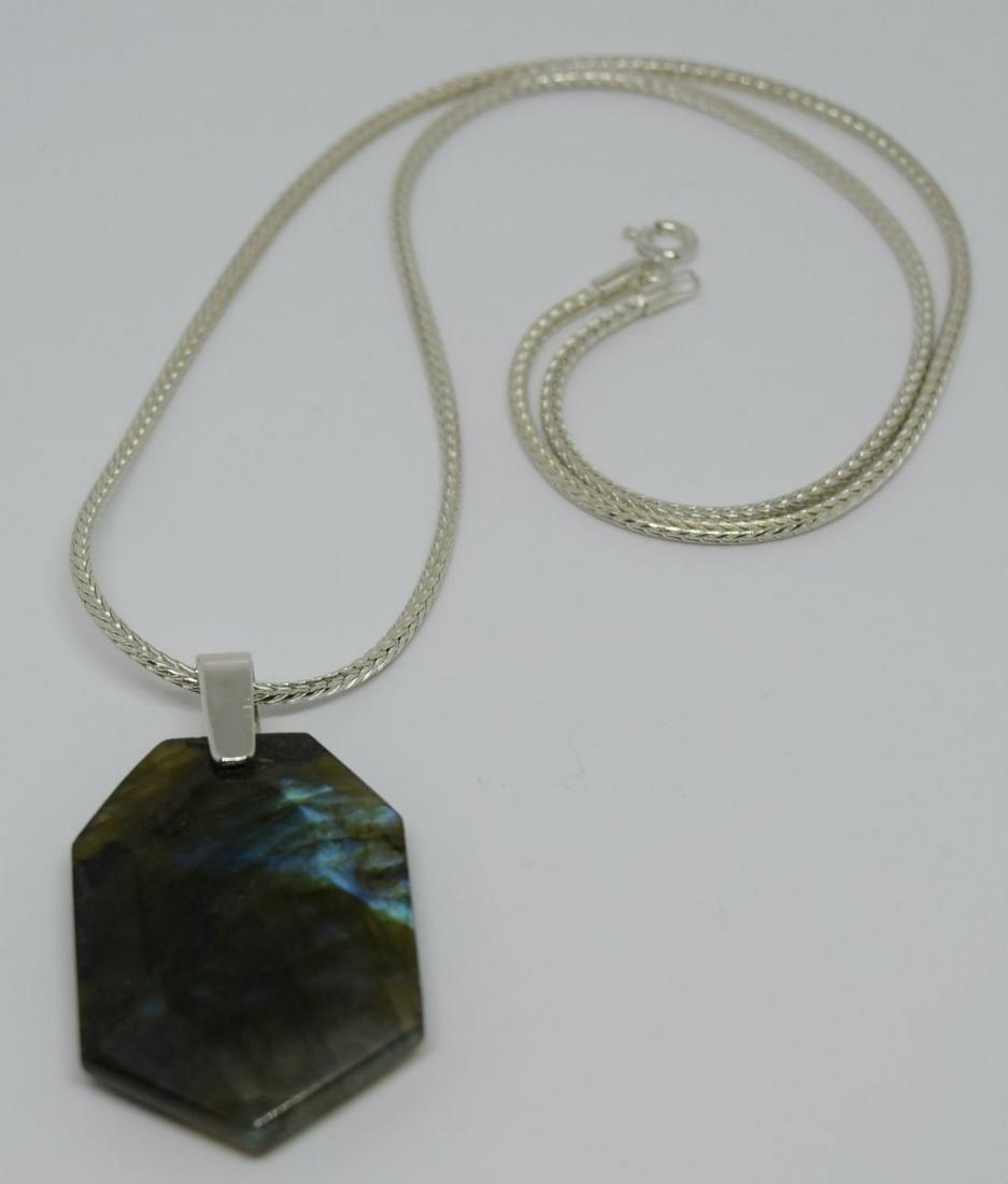 Sterling Silver Heptagon Labradorite Pendant Necklace